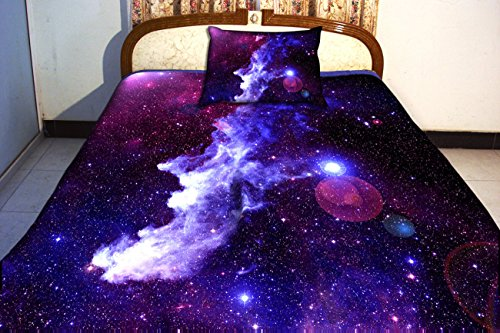 Anlye Luxury Home Decor Bedding Set 2 Sides Printing Purple Nebula Quilt Cover Nebula Bed Linen Sheets With 2 Nebula Pillow Body Cases Twin front-896848