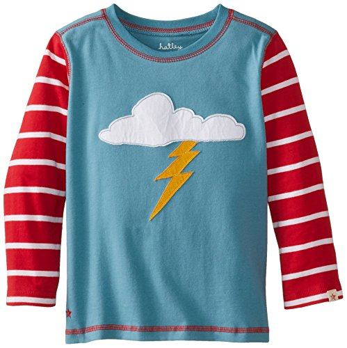 Hatley Little Boys' Long Sleeve Graphic Tee - Lightning Strike, Blue, 3 front-655629