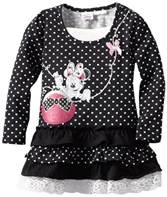 Disney Little Girls' Toddler Minnie Ruffle Dress, Black, 2T