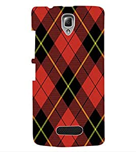 ColourCraft Red Check Pattern Back Case Cover for LENOVO A2010