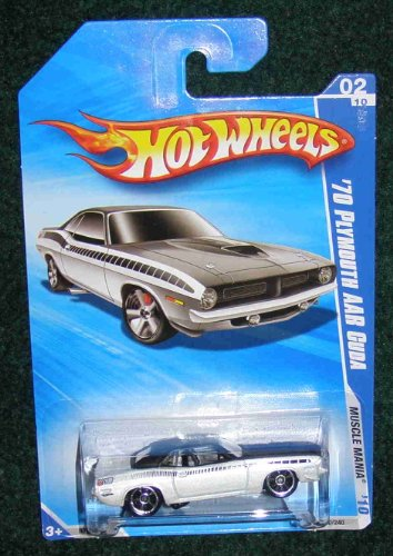 HOT WHEELS 2010 MUSCLE MANIA 02 OF 10 WHITE '70 PLYMOUTH AAR CUDA