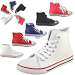 Hester high top lace up canvas trainers