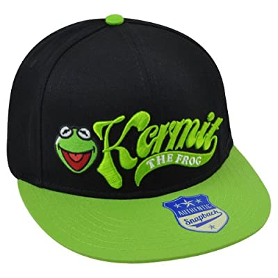 Muppets Disney Kermit Frog Flatbill Adjustable Snapback Two Tone Green Hat Cap