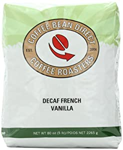 Coffee Bean Direct Decaf French Vanilla Flavored, Whole Bean Coffee, 5-Pound Bag