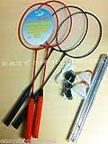 Badminton Set 4 Players 4 x Rackets 2 x Shuttlecocks Poles + Net Full Kit