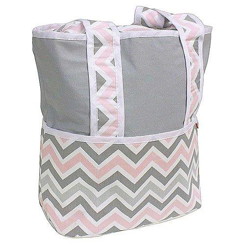 Hoohobbers Tote Diaper Bag, Chevron Pink