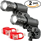 Bright Eyes - SOLID AIRCRAFT ALUMINUM Front and Back Bike Light Set - BRIGHT 300 Lumens - 2/PACK - LED Bicycle Headlight - WATERPROOF - Includes 2nd Set For FREE - Mounts in Seconds - NO TOOLS Required - LIFETIME WARRANTY