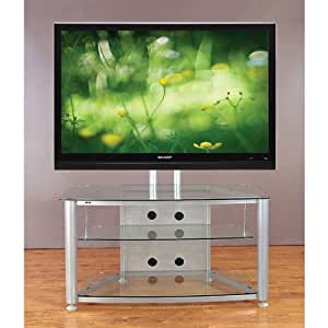 vti flat panel tv stand for screens up to 55 inches silver with clear glass. Black Bedroom Furniture Sets. Home Design Ideas