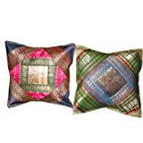 2 Dark-Blue Green Zardozi Vintage Silk Sari Toss Pillow Cushion Coversby Mogulinterior