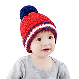 IMLECK Designs Unisex Baby Red Twist Cotton Knit Hat