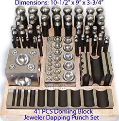 41 PC Jeweler Jewelry Doming Block Dapping Punch Puncher Metal Craft Forming Set