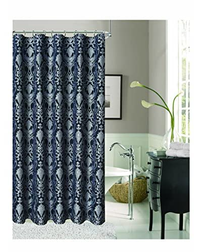 Dainty Home Stunning La Vista Shower Curtain, Black