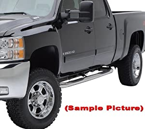 "01-13 2013 Silverado/Sierra Crew Cab Stainless Steel 3"" Side Step Nerf Bars Running Boards(2pcs with Mounting Bracket Kit) by MaxMate"