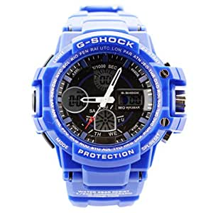 Fashion Sport Watch Multifunction Multi-LED Dual Time Led Light Analog Digital Waterproof Alarm Shock Boys Men Wristwatch With Gift Package (Blue)