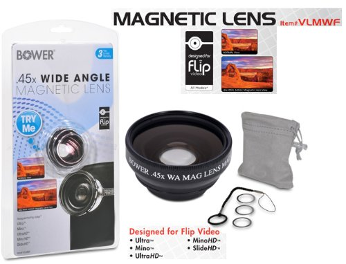 Bower VLMWF 0.45x Wide Angle Magnetic Lens for Flip Cameras -Black