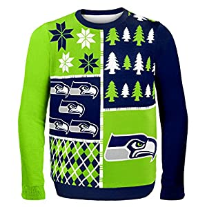 NFL Seattle Seahawks Busy Block Ugly Sweater, X-Large, Green