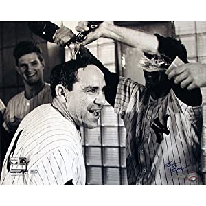 Steiner Sports MLB New York Yankees Ken Regan Signed Yogi Berra Champagne Celebration B&W Horizontal 16x20 Photograph