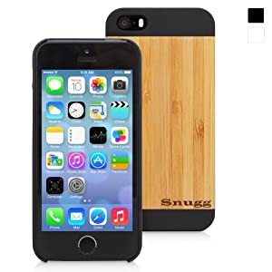 Snugg iPhone 5 / 5S Case - Ultra Thin Case with Lifetime Guarantee (Black - Real Bamboo Rear) for Apple iPhone 5 / 5S