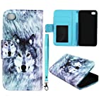 Snow Wolf Leather Wallet Flip ID Pouch Apple Iphone 4, 4S at&t. Verizon, Sprint, C Spire Case Cover Hard Phone case Snap-on Cover Rubberized Touch Faceplates