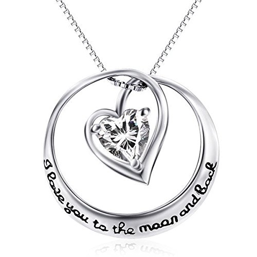 "YFN Sterling Silver ""I Love You to The Moon and Back"" Engraved Heart Crystal Cubic Zirconial Pendant Necklace 18"""