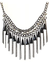 Sansar India Black Crystal Statement Trendy Tassel Necklace For Girls And Women