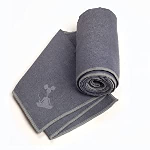 "YogaRat Charc-Ash 100% Microfiber Yoga Towels - Available separately in two sizes: Mat Length (24"" x 72"") and Hand Size (15"" x 24"")"