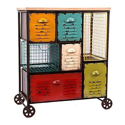 Indhouse - Carro de oficina estilo industrial - Cajonera metálica vintage multicolor estilo loft