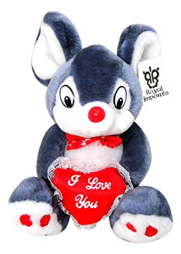 "Royal Imports Grey 9"" Mouse With an ""I Love You"" Heart #p047-G - 1"