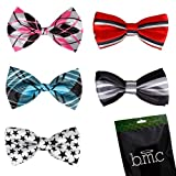Bundle Monster Stylish Dashing 5pc Boys Tuxedo Novelty Adjustable Neck Bow Tie Lot , Dapper Junior Collection - SET 2