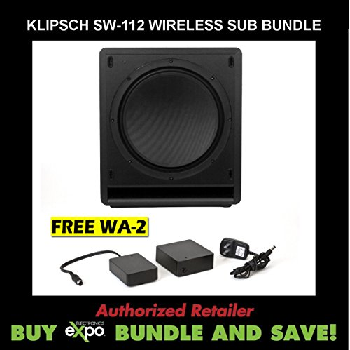 Klipsch Sw-112 Reference Series Powered Subwoofer, Plus Klipsch Wa-2 Wireless Subwoofer Kit