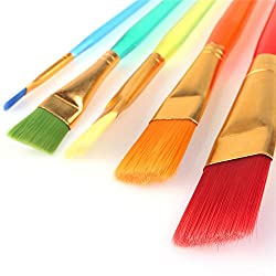 crafto Set of 5 Different Sizes Synthetic Flat Paint Brush for Oil, Acrylic Paintings - Painting Art Accessories