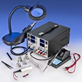 """4 IN 1 - """"X-TRONIC"""" MODEL #8080-XTS - HOT AIR REWORK & SOLDERING IRON STATION (CELSIUS/FAHRENHEIT), 30V-5A DC POWER SUPPLY & 50V-5A DC TEST METER - 10 SOLDERING TIPS - 4 HOT AIR NOZZLES - 1 ANTI-MAGNETIC TWEEZERS - 1 5X MAGNIFYING LAMP!!!"""