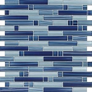cobalt blue blue random pattern glass tile