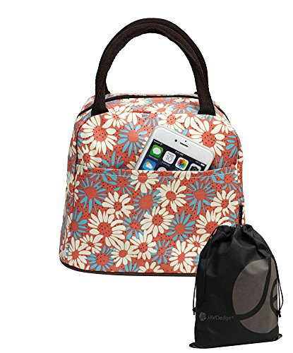 JAVOedge Pink, Blue and White Fabric Daisy Pattern Lunch Bag Tote with Zipper and Handle, Bonus Drawstring Bag - 1