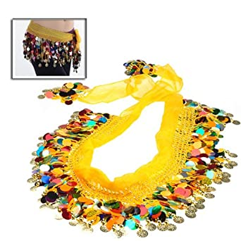 BestDealUSA Shining Multi-color Sequins Coin Belly Dance Hip Scarf