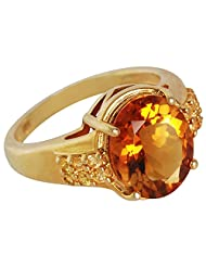MADEIRA CITRINE, YELLOW SAPPHIRE & YELLOW GOLD PLATED 925 STERLING SILVER RING JEWELRY FOR WOMEN