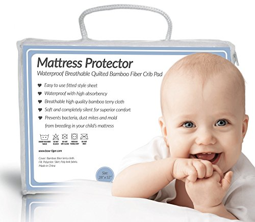 Quilted BAMBOO Waterproof Crib Mattress Protector by Bow-Tiger - Prevent Moisture & Dust Mites from Endangering Your Baby in Bed! Completely Silent & Extra Cozy Pad, Keep Your Baby Dry and Safe! (Crib Mattress Allergen Covers compare prices)