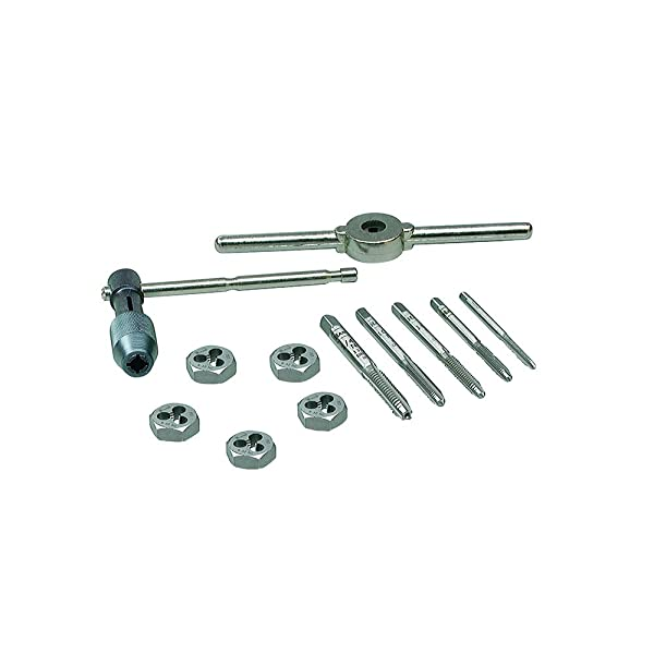 IRWIN Tools Machine Screw with Fractional Tap and Die Set, 12-Piece (24605) (Color: Silver, Tamaño: 12-Piece)