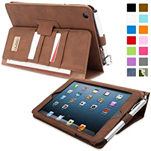 iPad Mini & iPad Mini 2 Case, Snugg™ - Executive Smart Cover With Card Slots & Lifetime Guarantee (Distressed Brown Leather) for Apple iPad Mini & iPad Mini 2
