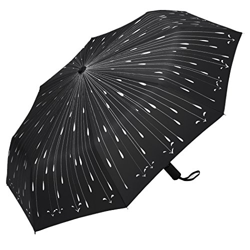 Plemo Regenschirm, Regentropfen Automatik Regenschirm Taschenschirm Schirm (94 cm Durchmesser)