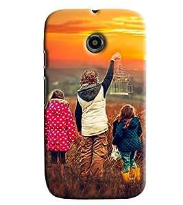 Blue Throat Two Girls With Boy Printed Designer Back Cover/Case For Motorola Moto E2
