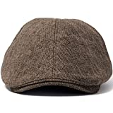 ililily Linen-like Flat Cap Cabbie Hat Gatsby Ivy Irish Hunting