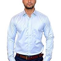 MSJ XIV Men's Premium Formal Shirt Striped Lining Light Blue (44)