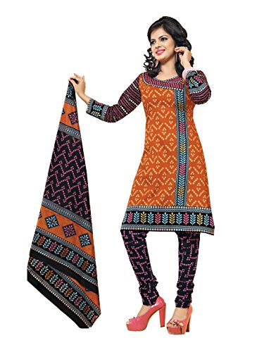 Aryahi Women's Cotton Dress Material (70393_Orange ...