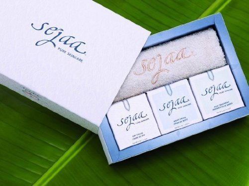 Sejaa Spa-Therapy Facial Kit Stress Relief, All Natural Skin Care Kit By Gisele- Sejaa Pure Skincare Kit By Gisele Bundchen, Limited Edition 3-Pack Kit With Free Towel - 1