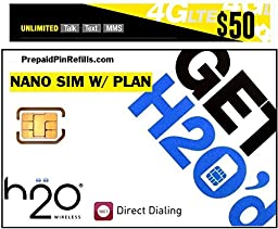 H2O H20 Wireless Nano SIM Card for AT&T iPhone 6/6 Plus/5/5s/5c and Unlocked iPhones w/ $50 Airtime