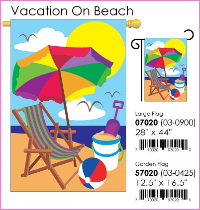 Vacation on Beach Garden Flag Indoor/outdoor 13.5
