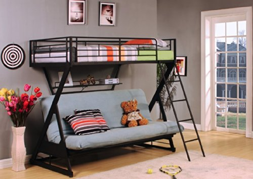 ACME Furniture 37136 Zazie Twin over Full/Futon Bunk Bed with Bookshelf, Sandy Black (Twin Over Full Futon compare prices)