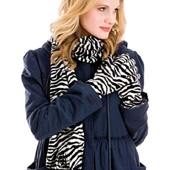 WOMENS LUXURY FLEECE ANIMAL PRINT GLOVES AND SCARF MATCHING SET WINTER XMAS GIFT ZEBRA LADIES ONE SIZE