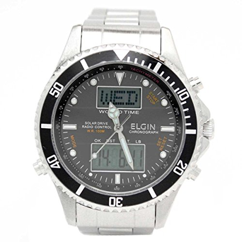 [エルジン]ELGIN 腕時計 電波 ソーラー アナデジウォッチ 100M防水 ブラックxシルバー FK1349S-BP メンズ